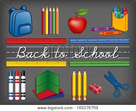Back to school supplies on chalkboard background, backpack, crayons, pencils, sharpener, markers, folders, scissors, apple for the teacher, cursive script handwriting, penmanship lines.