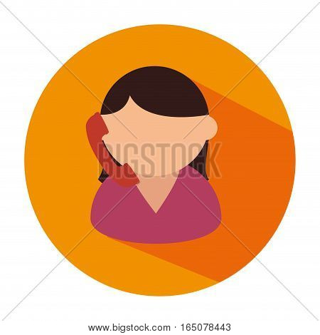 woman talking with telephone vector illustration design