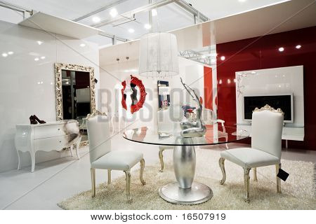 Beautiful and modern furniture in furniture store
