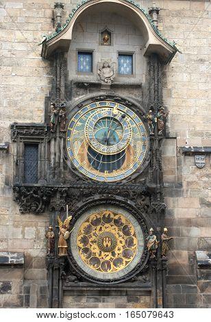 The Prague astronomical clock in Czech Republic