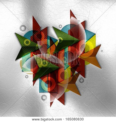3D Render Of Polygeometric Abstract Shapes On Leather