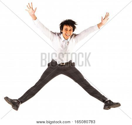 Studio shot on white background of a jumping businessman