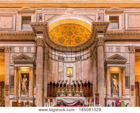 Altar Of The Pantheon In Rome Italy