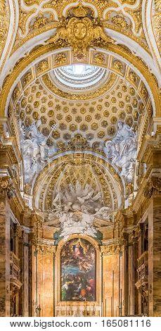 Ornate Interior Of The Church Of San Luigi Dei Francesi In Rome