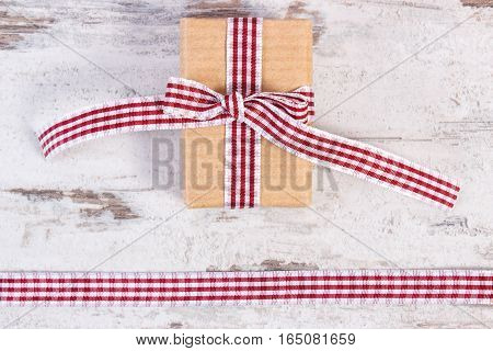Gift Wrapped In Recycled Paper And Decorative Ribbon, Decoration For Valentines Day