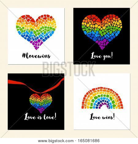 Set of cards with mosaic hearts and rainbow. LGBT logo. Gay culture sign. Pride design element.