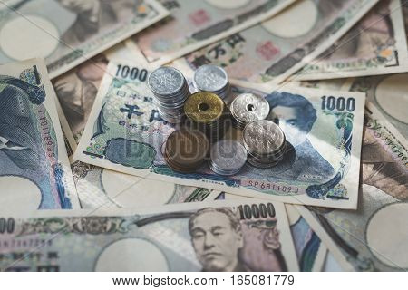 Japanese currency notes Japanese Yen on background
