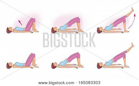 The girl in a pose lying on the back doing exercises to strengthen the abdominal and kick their feet