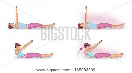 "poster of Girl in a supine making exercise ""twisting"" to strengthen the abdominal muscles"