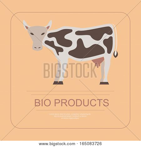 Logotype of bio products with cow in flat design. Perfect organic farm products banner or flyer. Vector illustration. eps 10