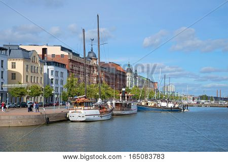 HELSINKI, FINLAND - AUGUST 28, 2016: View of Pohjoisranta Embankment in the sunny August afternoon. Historical landmark