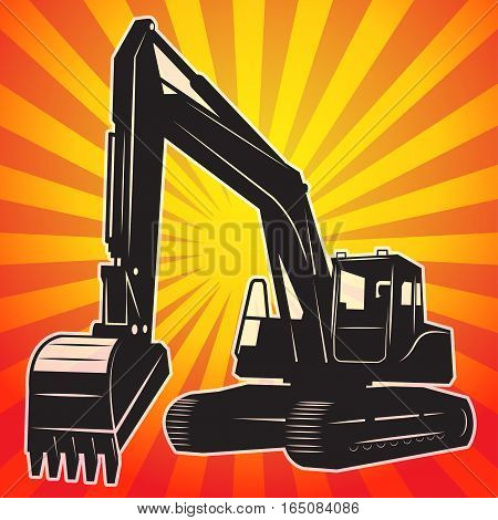 Excavator machinery abstract color background vector illustration