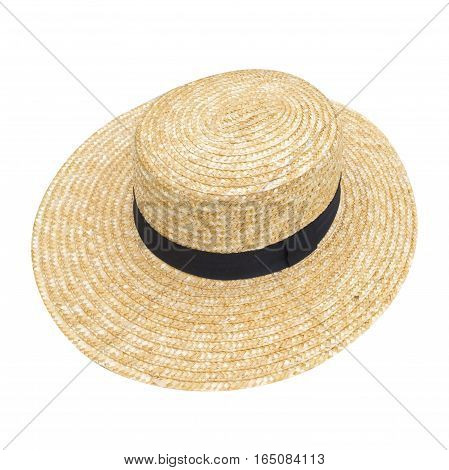 straw hat isolated on white background in the room