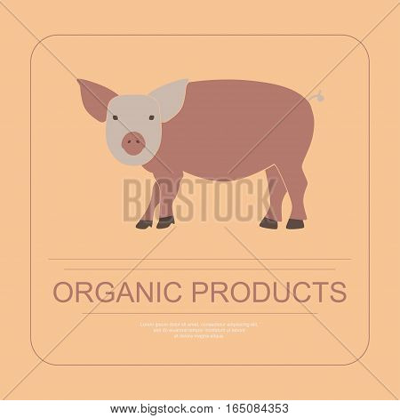 Logotipe of organic product in flat design. Perfect organic farm products banner or flyer. Vector illustration. eps 10