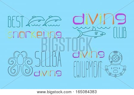 set of design logo scuba diving with diving suit, shark, octopus, dolphin, vector illustration, eps10