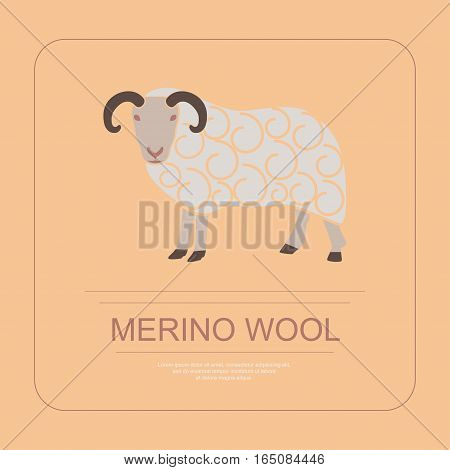 Logotype of merino wool in modern thin line design. Perfect organic farm products banner or flyer. Vector illustration. eps 10