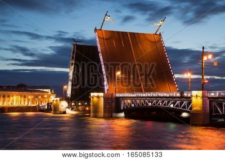 Divorced Palace bridge - the symbol of Saint-Petersburg close-up of the June night. Russia