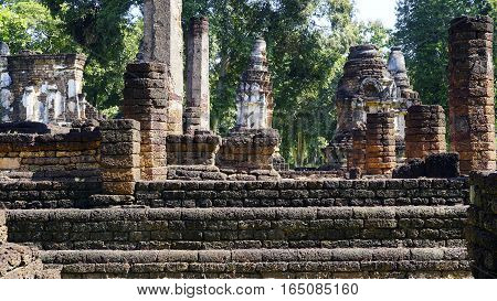 Historical Pagoda Laterite Steon Base Temple In Sukhothai