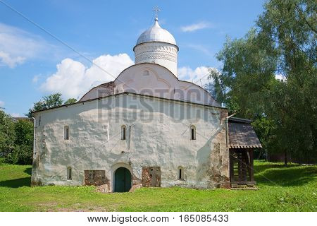Church of Clement Pope of Rome on Ivorove the street a sunny day in July. Veliky Novgorod, Russia