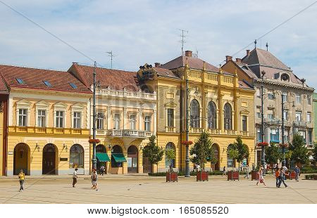 Colorful houses on the Piac Street of Debrecen, Hungary
