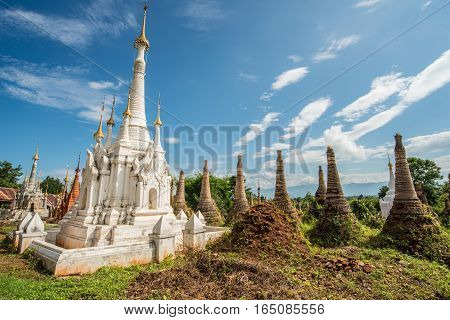 The group of ancient pagoda named Shwe Indein located in the village near Inle lake of Myanmar.