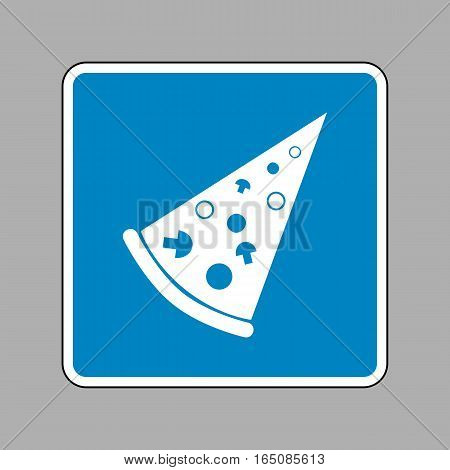 Pizza Simple Sign. White Icon On Blue Sign As Background.