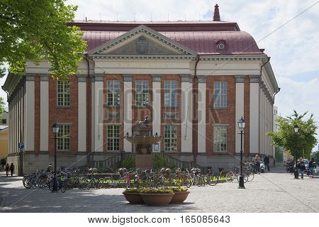 TURKU, FINLAND - JUNE 13, 2015: The view of the old municipal library building. Historical landmark of the Turku, Finland