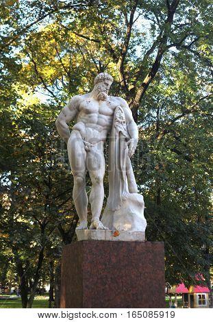 Saint-Petersburg, Russia - September 30, 2016: Hercules mythical Greek hero - a sculpture in the Alexander Park n the September 30, 2016 in St. Petersburg, Russia.