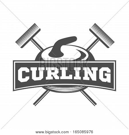 Curling game vintage badges. Winter sports. Retro logo design.
