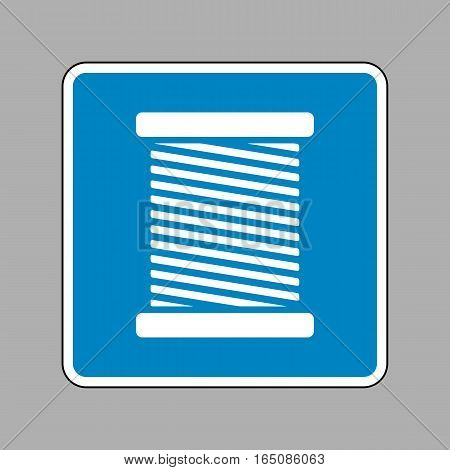 Thread Sign Illustration. White Icon On Blue Sign As Background.