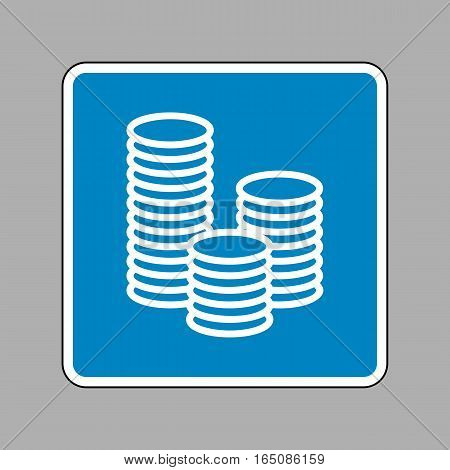 Money Sign Illustration. White Icon On Blue Sign As Background.