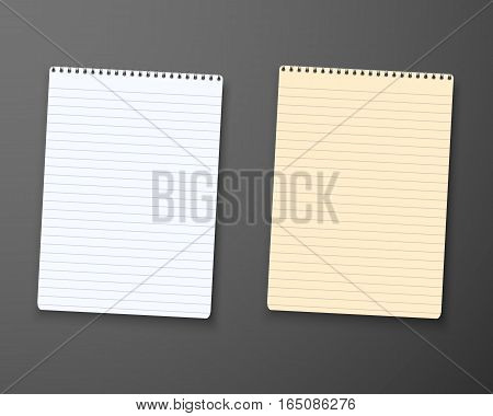 Illustration of Realistic Vector Paper Notepad Notebook Set. Office Equipment, School Supply Template