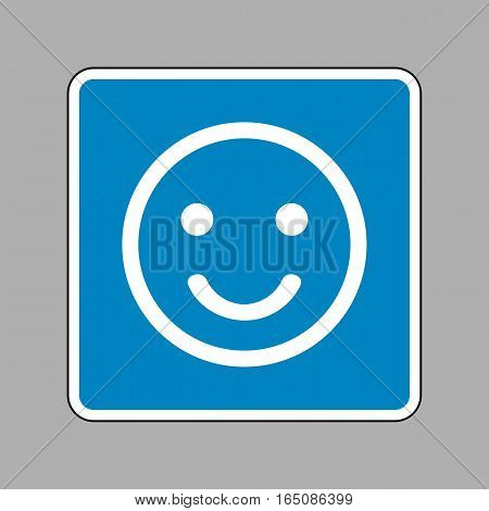 Fishing Hook Sign Illustration. White Icon On Blue Sign As Backg
