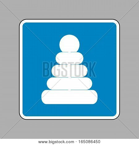 Pyramid Sign Illustration. White Icon On Blue Sign As Background