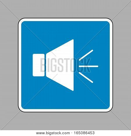 Sound Sign Illustration With Mute Mark. White Icon On Blue Sign