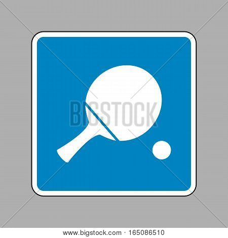 Ping Pong Paddle With Ball. White Icon On Blue Sign As Backgroun