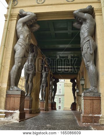 12.01.2017.Russia.Saint-Petersburg.The main entrance to the New Hermitage with sculptures of Atlantes.