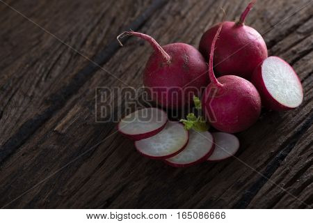 Fresh turnips on wooden background. Fresh turnips.