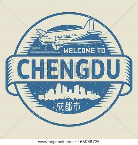 Grunge rubber stamp or tag with text Welcome to Chengdu (in chinese language too) China vector illustration