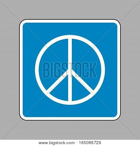 Peace Sign Illustration. White Icon On Blue Sign As Background.