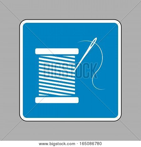 Thread With Needle Sign Illustration. White Icon On Blue Sign As