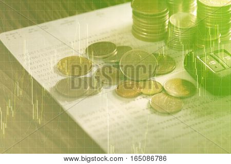 Double exposure of rows of coins, account book, credit card and car key remote. Finance and banking concept.