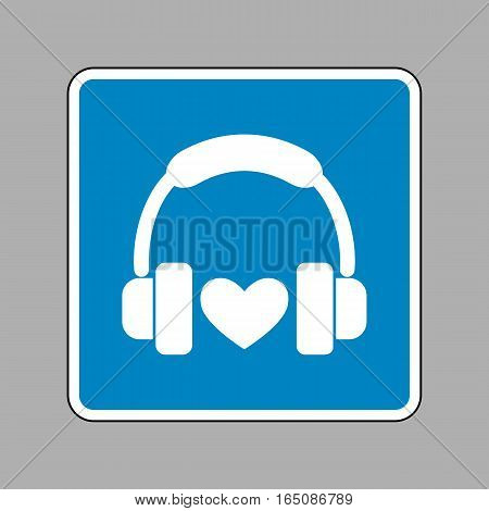 Headphones With Heart. White Icon On Blue Sign As Background.