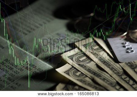Double exposure of money, credit card and account book. Banking and finance concept.