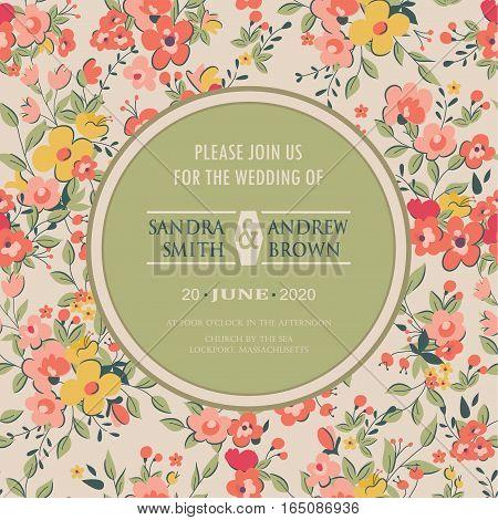 Wedding invitation or announcement floral decorative card