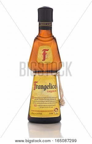 IRVINE CALIFORNIA - JANUARY 13 2017: Frangelico. A hazelnut and herb flavored liqueur produced in Canala Italy. The bottles is made to look like a friar in his habit.