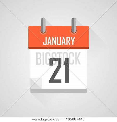 January 21, calendar date month icon with flat design on grey background