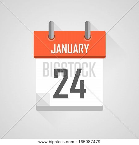 January 24, calendar date month icon with flat design on grey background