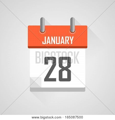 January 28, calendar date month icon with flat design on grey background