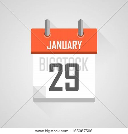 January 29, calendar date month icon with flat design on grey background